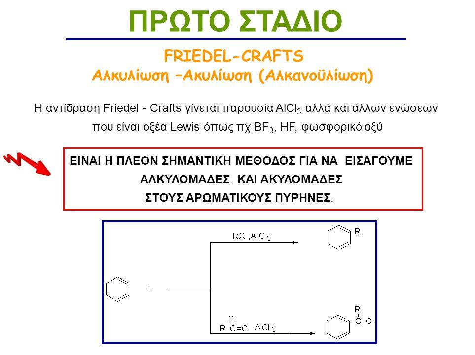 FRIEDEL-CRAFTS Αλκυλίωση –Ακυλίωση (Αλκανοϋλίωση) ΠΡΩΤΟ ΣΤΑΔΙΟ Η αντίδραση Friedel - Crafts γίνεται παρουσία AlCl 3 αλλά και άλλων ενώσεων που είναι οξέα Lewis όπως πχ BF 3, HF, φωσφορικό οξύ ΕΙΝΑΙ Η ΠΛΕΟΝ ΣΗΜΑΝΤΙΚΗ ΜΕΘΟΔΟΣ ΓΙΑ ΝΑ ΕΙΣΑΓΟΥΜΕ ΑΛΚΥΛΟΜΑΔΕΣ ΚΑΙ ΑΚΥΛΟΜΑΔΕΣ ΣΤΟΥΣ ΑΡΩΜΑΤΙΚΟΥΣ ΠΥΡΗΝΕΣ.