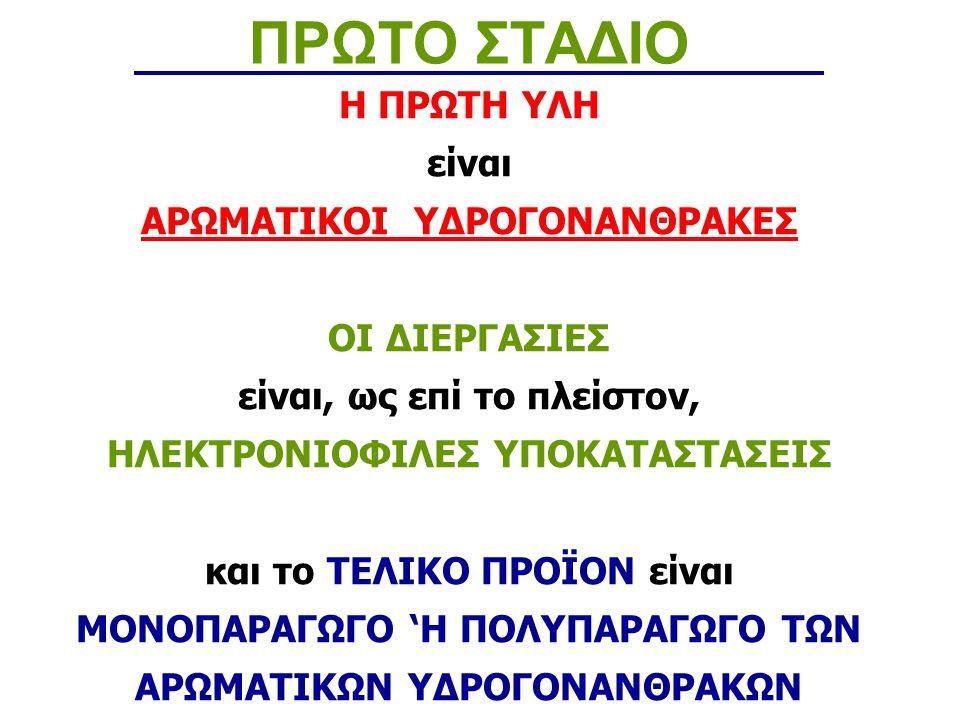 Σουλφονυλίωση ΠΡΩΤΟ ΣΤΑΔΙΟ Η σουλφονυλίωση είναι αντίδραση Ηλεκτρονιόφιλης Αντικατάστασης με Υπόστρωμα ένα αρένιο ή παράγωγο του και αντιδραστήριο προσβολής το ηλεκτρονιόφιλο τριοξείδιο του θείου ή το ατμίζων θειικό οξύ, προς παραγωγή σουλφονικού οξέος