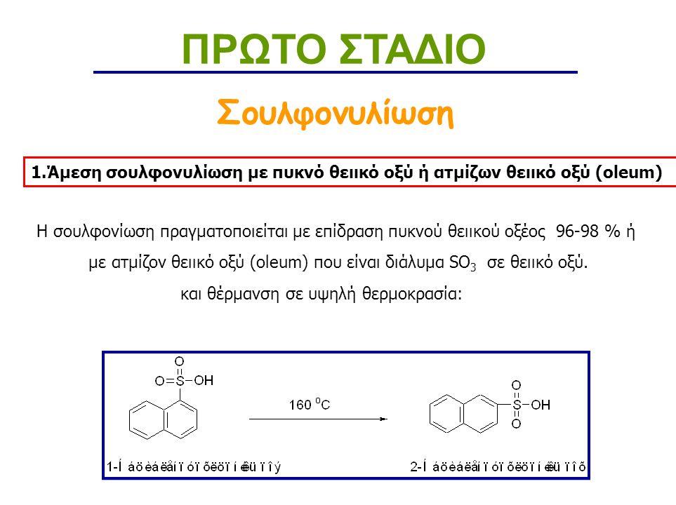 Νίτρωση με αραιό Νιτρικό οξύ Νίτρωση ΠΡΩΤΟ ΣΤΑΔΙΟ Οι φαινόλες νιτρώνονται με επίδραση αραιού Νιτρικού Οξέος ( C= 20 % κ.β.).