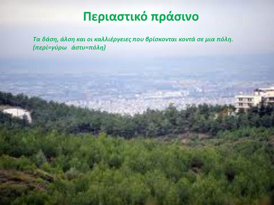 Περιαστικό πράσινο Τα δάση, άλση και οι καλλιέργειες που βρίσκονται κοντά σε μια πόλη. (περί=γύρω άστυ=πόλη)