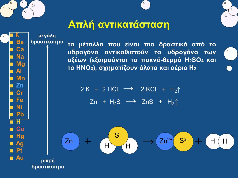 Απλή αντικατάσταση Κ Ba Ca Na Mg Al Mn Zn Cr Fe Ni Pb Η Cu Hg Ag Pt Au τα μέταλλα που είναι πιο δραστικά από το υδρογόνο αντικαθιστούν το υδρογόνο των