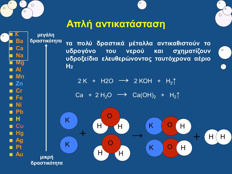 Απλή αντικατάσταση Κ Ba Ca Na Mg Al Mn Zn Cr Fe Ni Pb Η Cu Hg Ag Pt Au τα πολύ δραστικά μέταλλα αντικαθιστούν το υδρογόνο του νερού και σχηματίζουν υδ