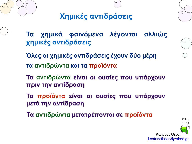 Κων/νος Θέος, kostasctheos@yahoo.gr kostasctheos@yahoo.gr Χημικές αντιδράσεις Τα χημικά φαινόμενα λέγονται αλλιώς χημικές αντιδράσεις Όλες οι χημικές