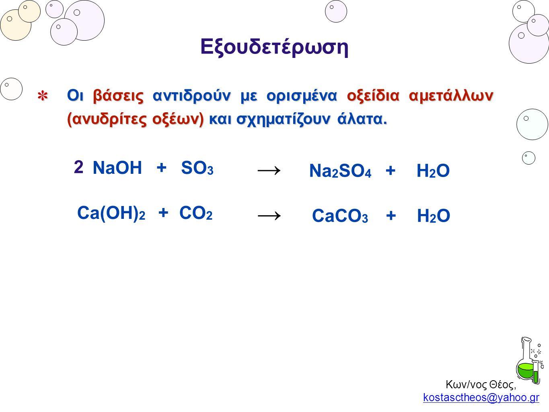 Κων/νος Θέος, kostasctheos@yahoo.gr kostasctheos@yahoo.gr Εξουδετέρωση Οι βάσεις αντιδρούν με ορισμένα οξείδια αμετάλλων (ανυδρίτες οξέων) και σχηματί
