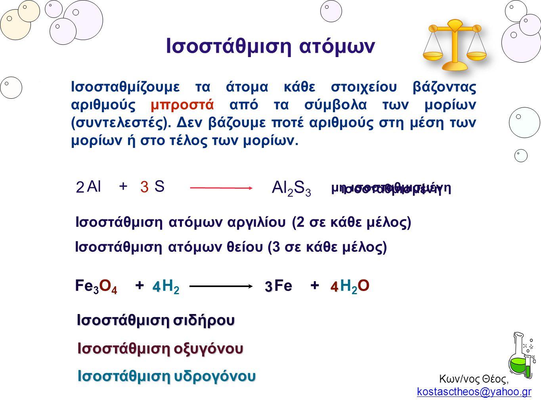 Κων/νος Θέος, kostasctheos@yahoo.gr kostasctheos@yahoo.gr Ισοστάθμιση ατόμων Al + S Al 2 S 3 μη ισοσταθμισμένη ισοσταθμισμένη Ισοστάθμιση ατόμων αργιλ