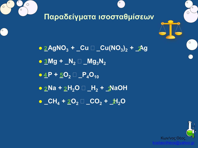 Κων/νος Θέος, kostasctheos@yahoo.gr kostasctheos@yahoo.gr Παραδείγματα ισοσταθμίσεων  _AgNO 3 + _Cu → _Cu(NO 3 ) 2 + _Ag  _Mg + _N 2 → _Mg 3 N 2  _