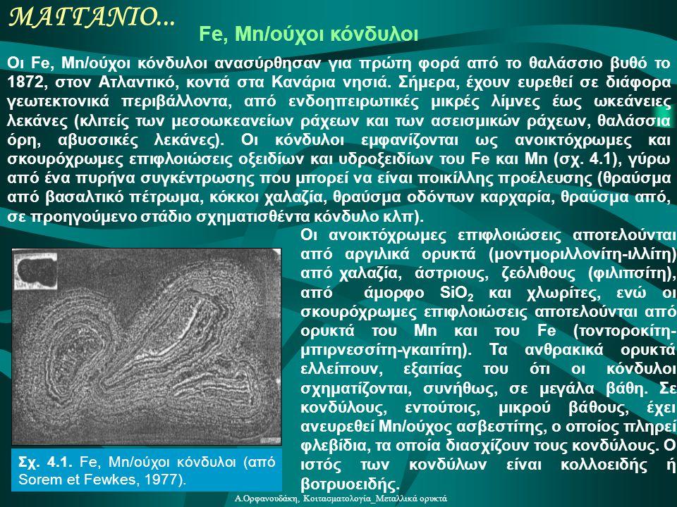 Α.Ορφανουδάκη, Κοιτασματολογία_Μεταλλικά ορυκτά ΜΑΓΓΑΝΙΟ... Fe, Mn/ούχοι κόνδυλοι Οι Fe, Mn/ούχοι κόνδυλοι ανασύρθησαν για πρώτη φορά από το θαλάσσιο