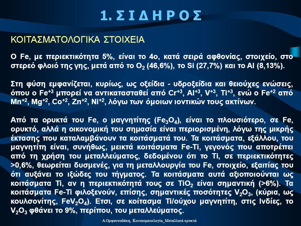 Α.Ορφανουδάκη, Κοιτασματολογία_Μεταλλικά ορυκτά Τα κοιτάσματα Cu της Ελλάδας είναι είτε πορφυριτικού τύπου, όπως τα κοιτάσματα Σκουριές και Φισώκα της Χαλκιδικής, Αλεξία του Κιλκίς, κλπ, είτε τύπου Κύπρου (συνδέονται δηλ.