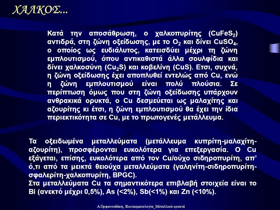 Α.Ορφανουδάκη, Κοιτασματολογία_Μεταλλικά ορυκτά ΧΑΛΚΟΣ... Τα οξειδωμένα μεταλλεύματα (μετάλλευμα κυπρίτη-μαλαχίτη- αζουρίτη), προσφέρονται ευκολότερα