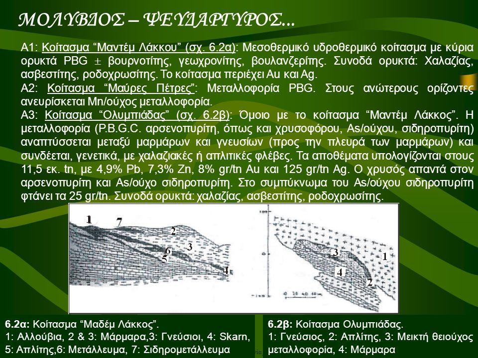 """Α.Ορφανουδάκη, Κοιτασματολογία_Μεταλλικά ορυκτά Α1: Κοίτασμα """"Μαντέμ Λάκκου"""" (σχ. 6.2α): Μεσοθερμικό υδροθερμικό κοίτασμα με κύρια ορυκτά PΒG  βουρνο"""