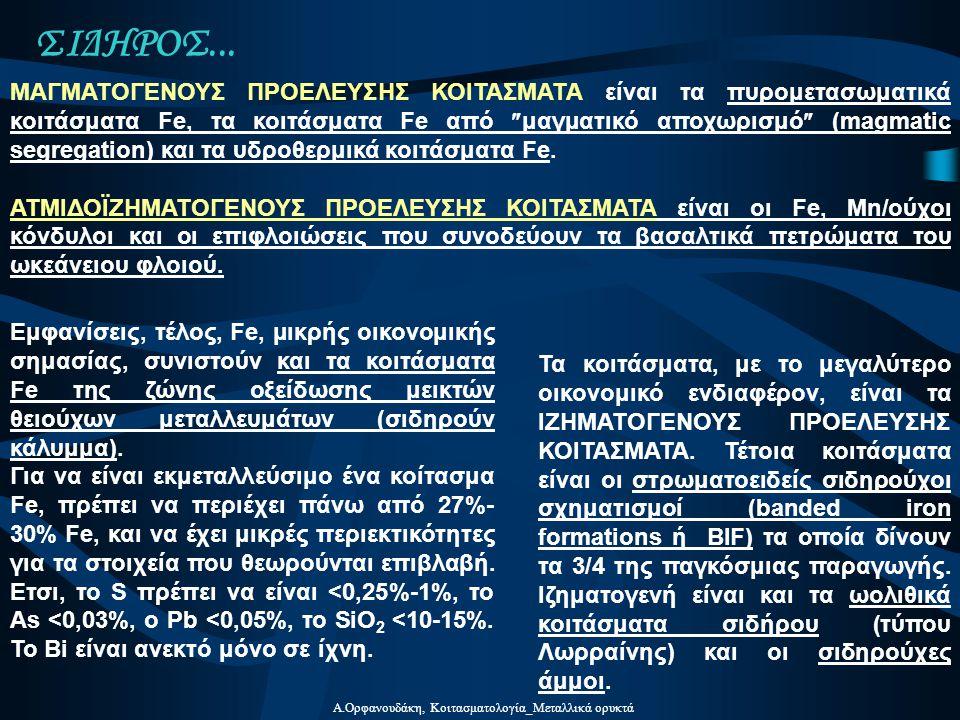 Α.Ορφανουδάκη, Κοιτασματολογία_Μεταλλικά ορυκτά ΣΙΔΗΡΟΣ... Τα κοιτάσματα, με το μεγαλύτερο οικονομικό ενδιαφέρον, είναι τα ΙΖΗΜΑΤΟΓΕΝΟΥΣ ΠΡΟΕΛΕΥΣΗΣ ΚΟ