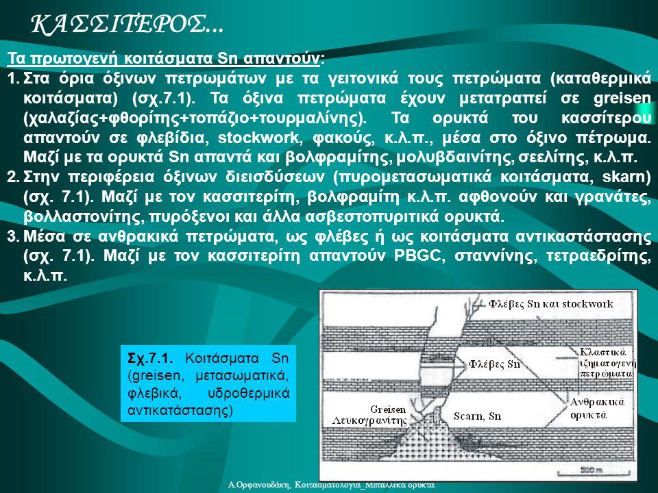 Α.Ορφανουδάκη, Κοιτασματολογία_Μεταλλικά ορυκτά Τα πρωτογενή κοιτάσματα Sn απαντούν: 1.Στα όρια όξινων πετρωμάτων με τα γειτονικά τους πετρώματα (κατα