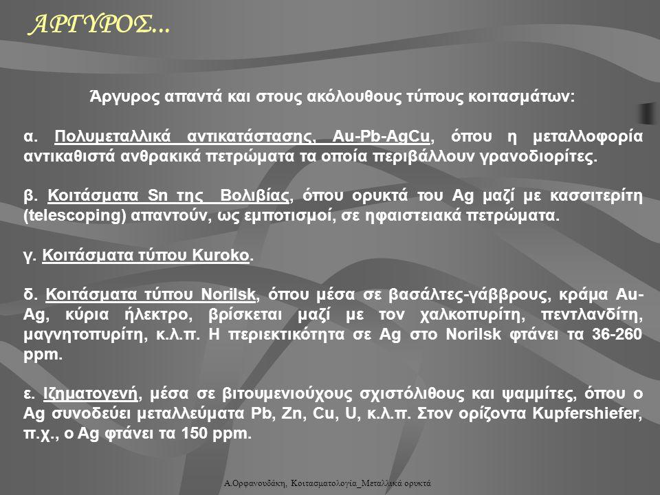 Α.Ορφανουδάκη, Κοιτασματολογία_Μεταλλικά ορυκτά Άργυρος απαντά και στους ακόλουθους τύπους κοιτασμάτων: α. Πολυμεταλλικά αντικατάστασης, Au-Pb-AgCu, ό