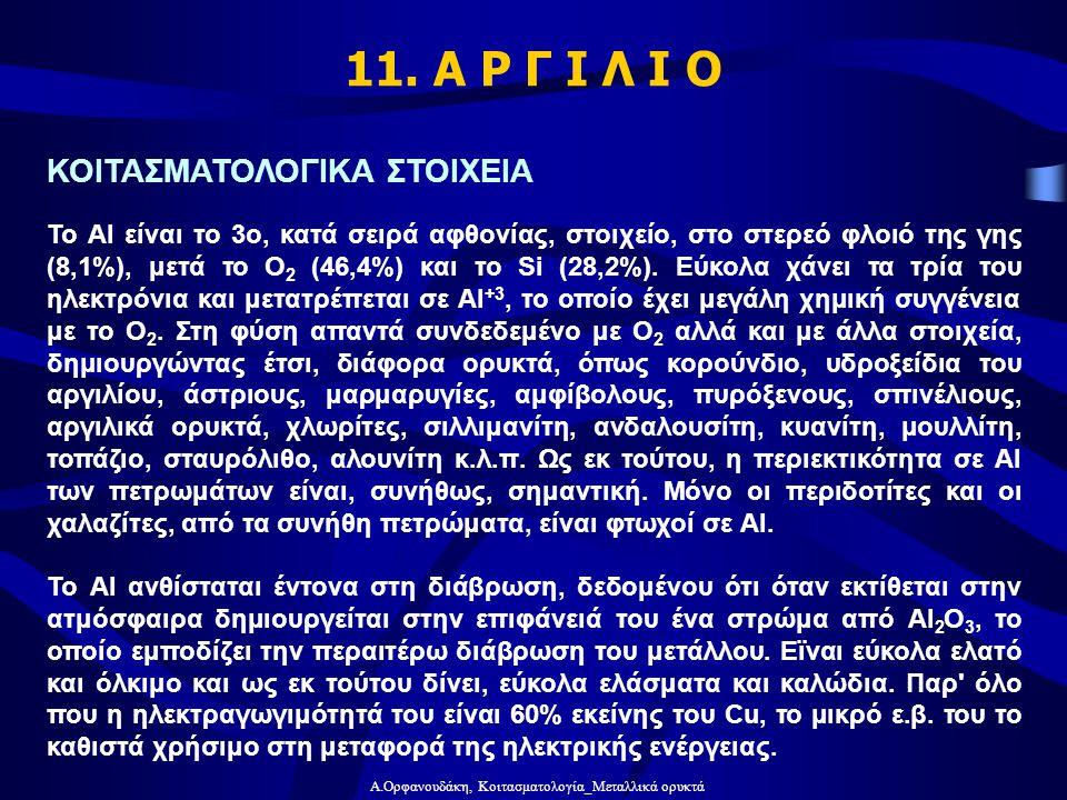 Α.Ορφανουδάκη, Κοιτασματολογία_Μεταλλικά ορυκτά 11. Α Ρ Γ Ι Λ Ι Ο ΚΟΙΤΑΣΜΑΤΟΛΟΓΙΚΑ ΣΤΟΙΧΕΙΑ Το Αl είναι το 3ο, κατά σειρά αφθονίας, στοιχείο, στο στερ