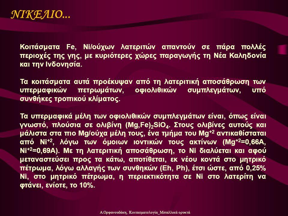 Α.Ορφανουδάκη, Κοιτασματολογία_Μεταλλικά ορυκτά ΝΙΚΕΛΙΟ... Κοιτάσματα Fe, Ni/ούχων λατεριτών απαντούν σε πάρα πολλές περιοχές της γης, με κυριότερες χ