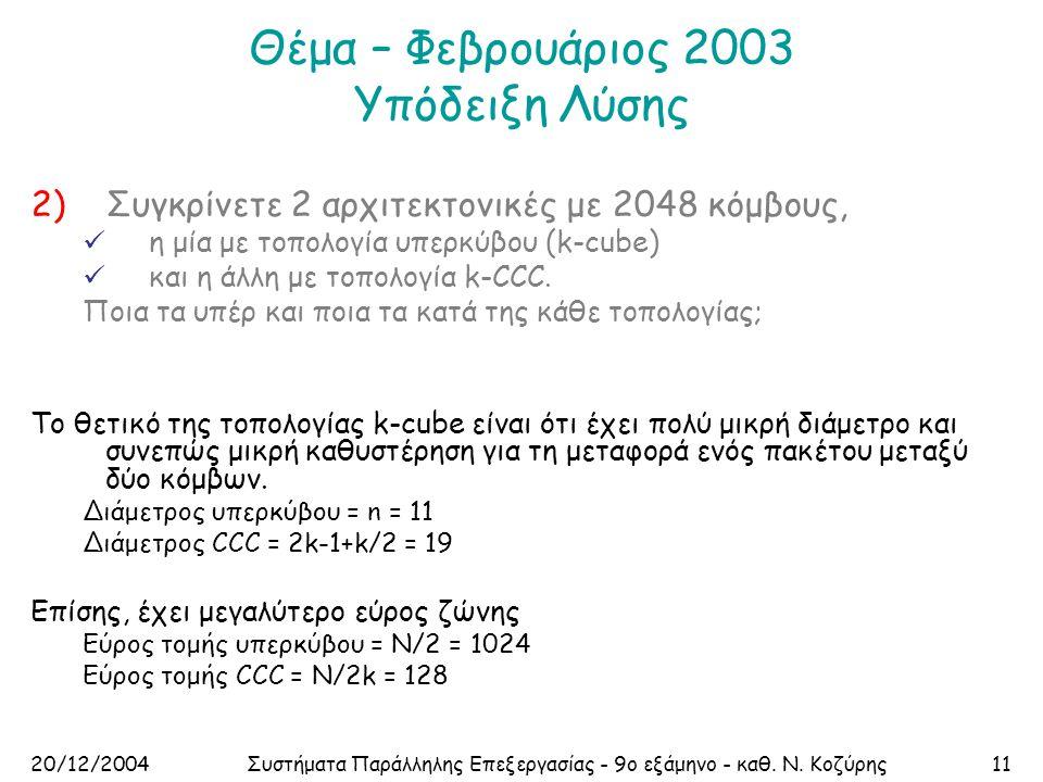 20/12/2004Συστήματα Παράλληλης Επεξεργασίας - 9ο εξάμηνο - καθ. Ν. Κοζύρης11 Θέμα – Φεβρουάριος 2003 Υπόδειξη Λύσης 2)Συγκρίνετε 2 αρχιτεκτονικές με 2