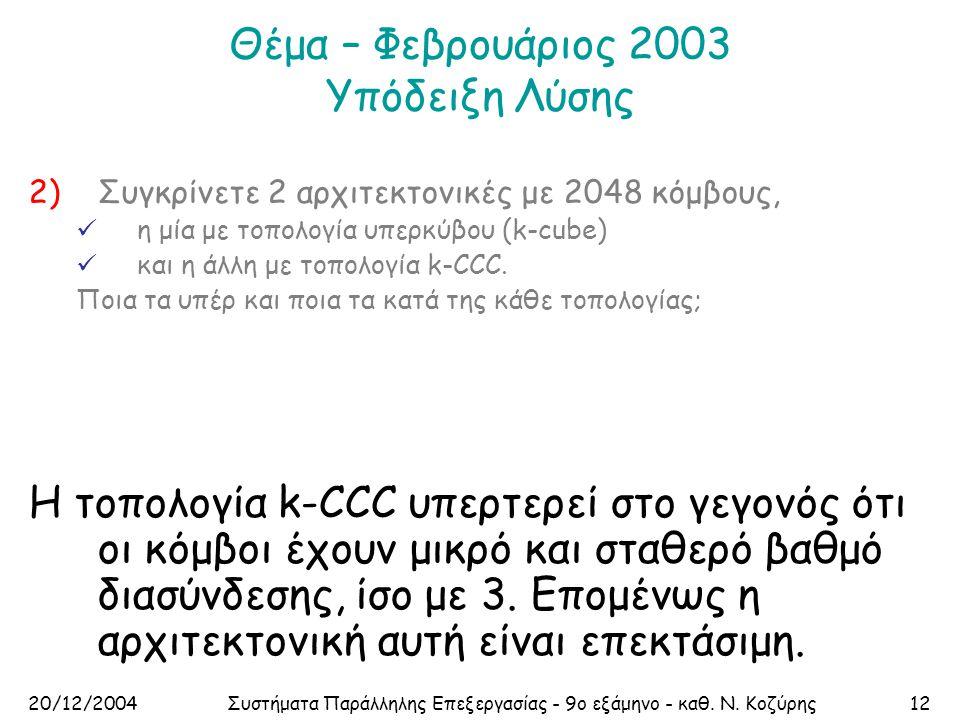 20/12/2004Συστήματα Παράλληλης Επεξεργασίας - 9ο εξάμηνο - καθ. Ν. Κοζύρης12 Θέμα – Φεβρουάριος 2003 Υπόδειξη Λύσης 2)Συγκρίνετε 2 αρχιτεκτονικές με 2