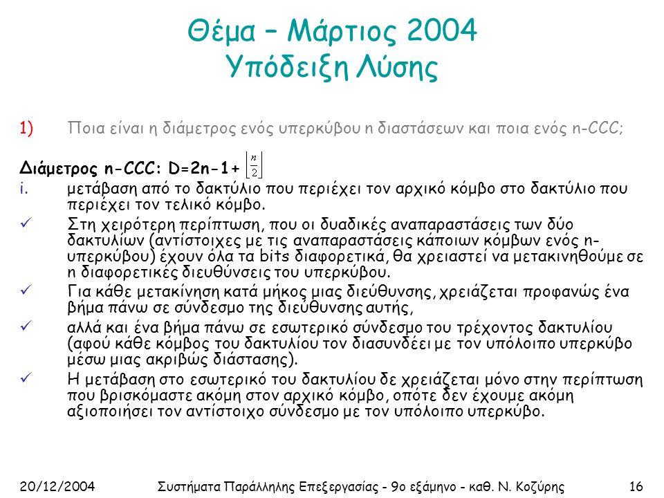 20/12/2004Συστήματα Παράλληλης Επεξεργασίας - 9ο εξάμηνο - καθ. Ν. Κοζύρης16 Θέμα – Μάρτιος 2004 Υπόδειξη Λύσης 1)Ποια είναι η διάμετρος ενός υπερκύβο