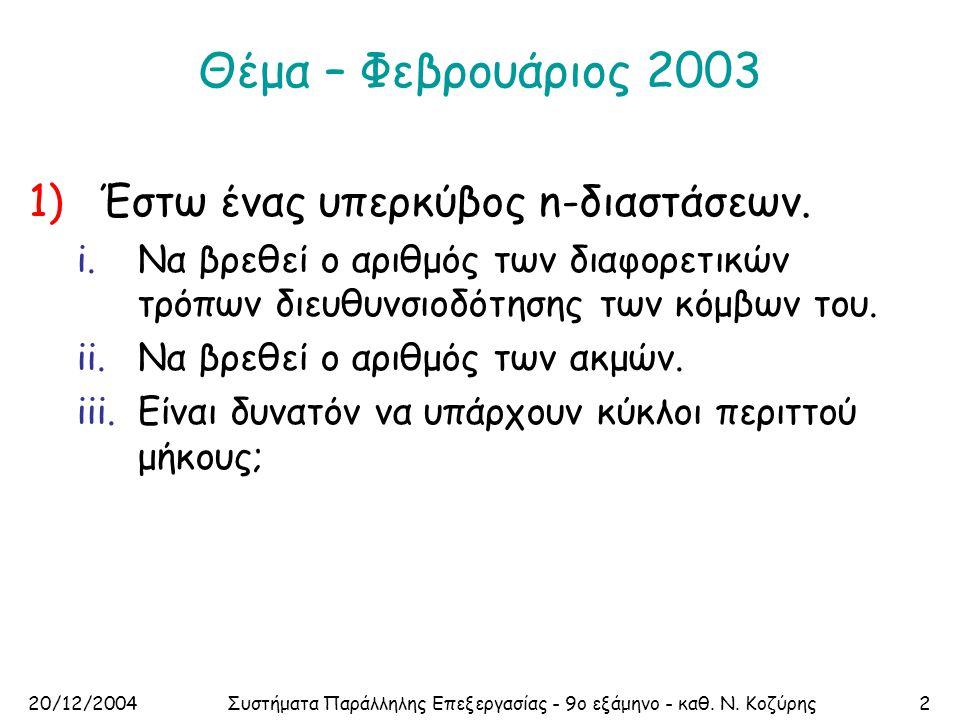 20/12/2004Συστήματα Παράλληλης Επεξεργασίας - 9ο εξάμηνο - καθ. Ν. Κοζύρης2 Θέμα – Φεβρουάριος 2003 1)Έστω ένας υπερκύβος n-διαστάσεων. i.Να βρεθεί ο
