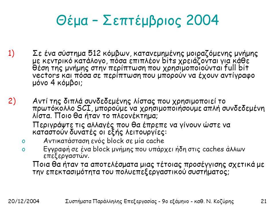 20/12/2004Συστήματα Παράλληλης Επεξεργασίας - 9ο εξάμηνο - καθ. Ν. Κοζύρης21 Θέμα – Σεπτέμβριος 2004 1)Σε ένα σύστημα 512 κόμβων, κατανεμημένης μοιραζ