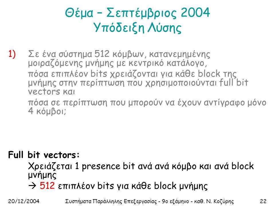 20/12/2004Συστήματα Παράλληλης Επεξεργασίας - 9ο εξάμηνο - καθ. Ν. Κοζύρης22 Θέμα – Σεπτέμβριος 2004 Υπόδειξη Λύσης 1)Σε ένα σύστημα 512 κόμβων, καταν