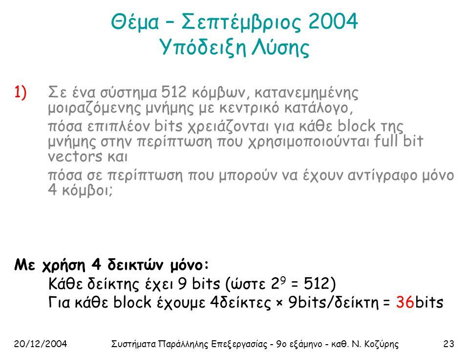 20/12/2004Συστήματα Παράλληλης Επεξεργασίας - 9ο εξάμηνο - καθ. Ν. Κοζύρης23 Θέμα – Σεπτέμβριος 2004 Υπόδειξη Λύσης 1)Σε ένα σύστημα 512 κόμβων, καταν