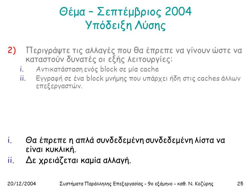 20/12/2004Συστήματα Παράλληλης Επεξεργασίας - 9ο εξάμηνο - καθ. Ν. Κοζύρης25 Θέμα – Σεπτέμβριος 2004 Υπόδειξη Λύσης 2)Περιγράψτε τις αλλαγές που θα έπ
