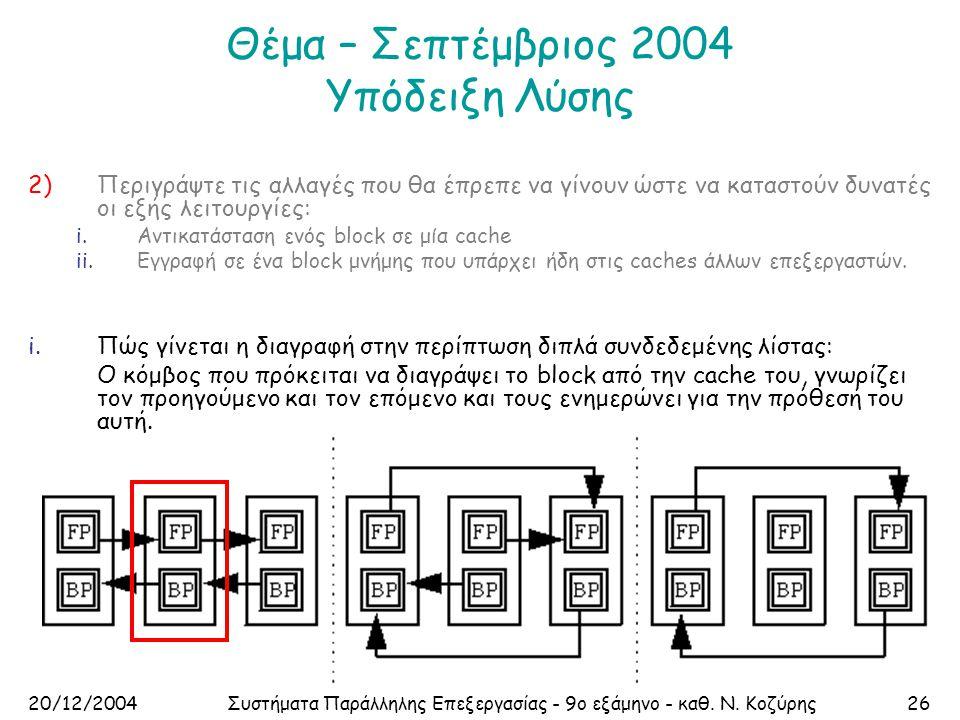 20/12/2004Συστήματα Παράλληλης Επεξεργασίας - 9ο εξάμηνο - καθ. Ν. Κοζύρης26 Θέμα – Σεπτέμβριος 2004 Υπόδειξη Λύσης 2)Περιγράψτε τις αλλαγές που θα έπ