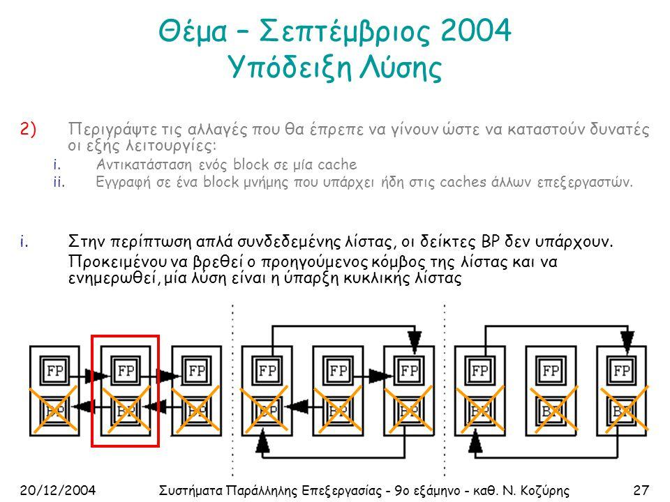 20/12/2004Συστήματα Παράλληλης Επεξεργασίας - 9ο εξάμηνο - καθ. Ν. Κοζύρης27 Θέμα – Σεπτέμβριος 2004 Υπόδειξη Λύσης 2)Περιγράψτε τις αλλαγές που θα έπ