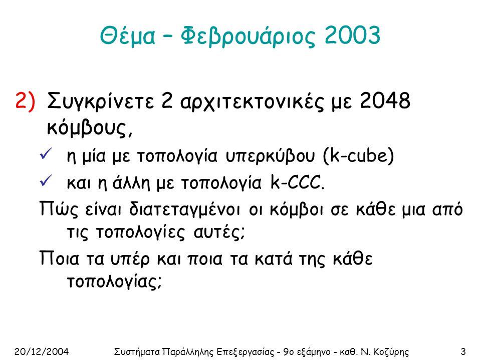 20/12/2004Συστήματα Παράλληλης Επεξεργασίας - 9ο εξάμηνο - καθ. Ν. Κοζύρης3 Θέμα – Φεβρουάριος 2003 2)Συγκρίνετε 2 αρχιτεκτονικές με 2048 κόμβους,  η
