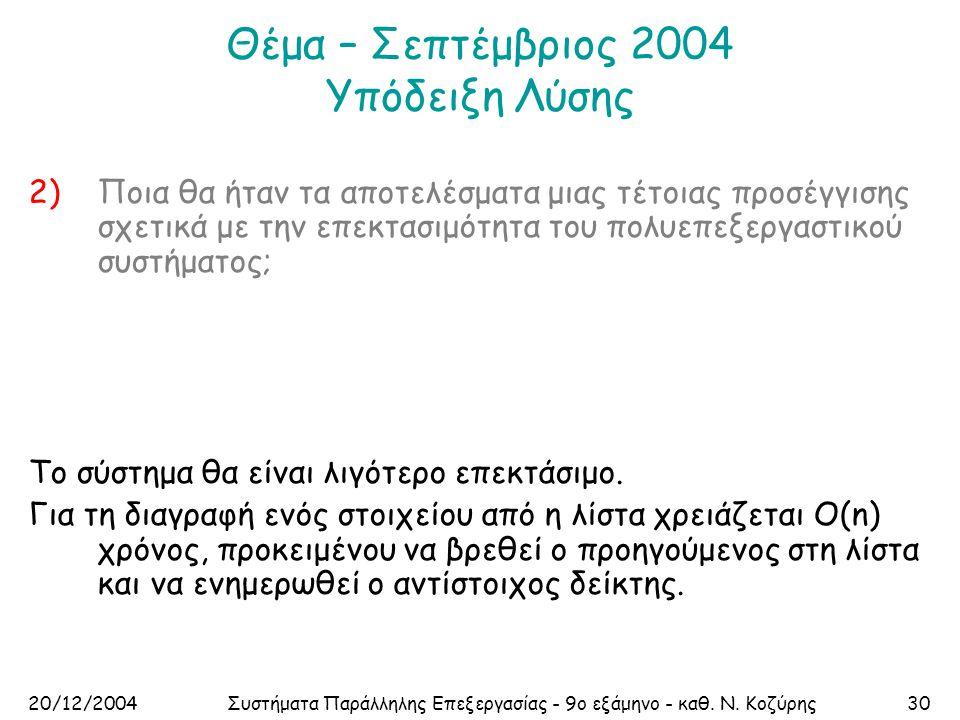 20/12/2004Συστήματα Παράλληλης Επεξεργασίας - 9ο εξάμηνο - καθ. Ν. Κοζύρης30 Θέμα – Σεπτέμβριος 2004 Υπόδειξη Λύσης 2)Ποια θα ήταν τα αποτελέσματα μια