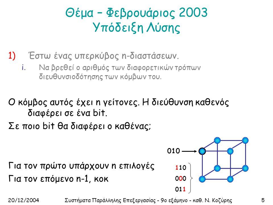 20/12/2004Συστήματα Παράλληλης Επεξεργασίας - 9ο εξάμηνο - καθ. Ν. Κοζύρης5 Θέμα – Φεβρουάριος 2003 Υπόδειξη Λύσης 1)Έστω ένας υπερκύβος n-διαστάσεων.