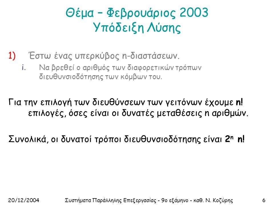 20/12/2004Συστήματα Παράλληλης Επεξεργασίας - 9ο εξάμηνο - καθ. Ν. Κοζύρης6 Θέμα – Φεβρουάριος 2003 Υπόδειξη Λύσης 1)Έστω ένας υπερκύβος n-διαστάσεων.