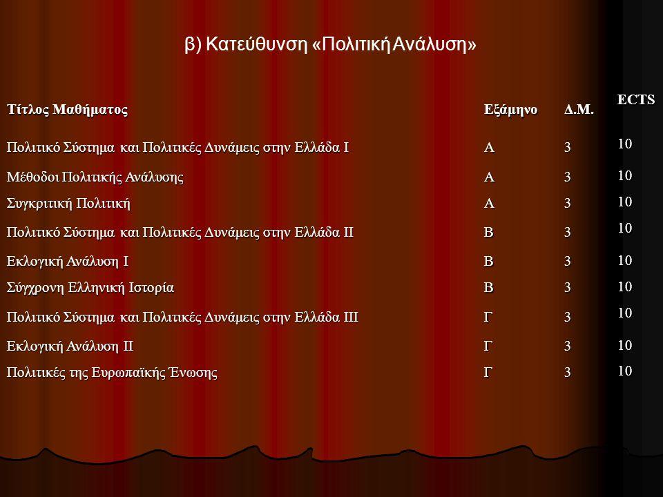 Πρόγραμμα μαθημάτων Το πρόγραμμα μαθημάτων ανά κατεύθυνση σπουδών είναι το ακόλουθο: α) Κατεύθυνση «Πολιτική Θεωρία και Φιλοσοφία» Τίτλος Μαθήματος Εξ