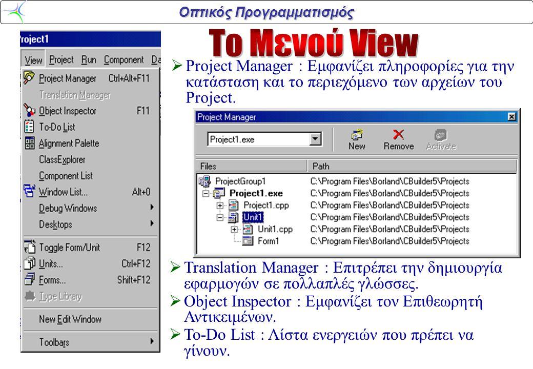 Οπτικός Προγραμματισμός  Project Manager : Εμφανίζει πληροφορίες για την κατάσταση και το περιεχόμενο των αρχείων του Project.