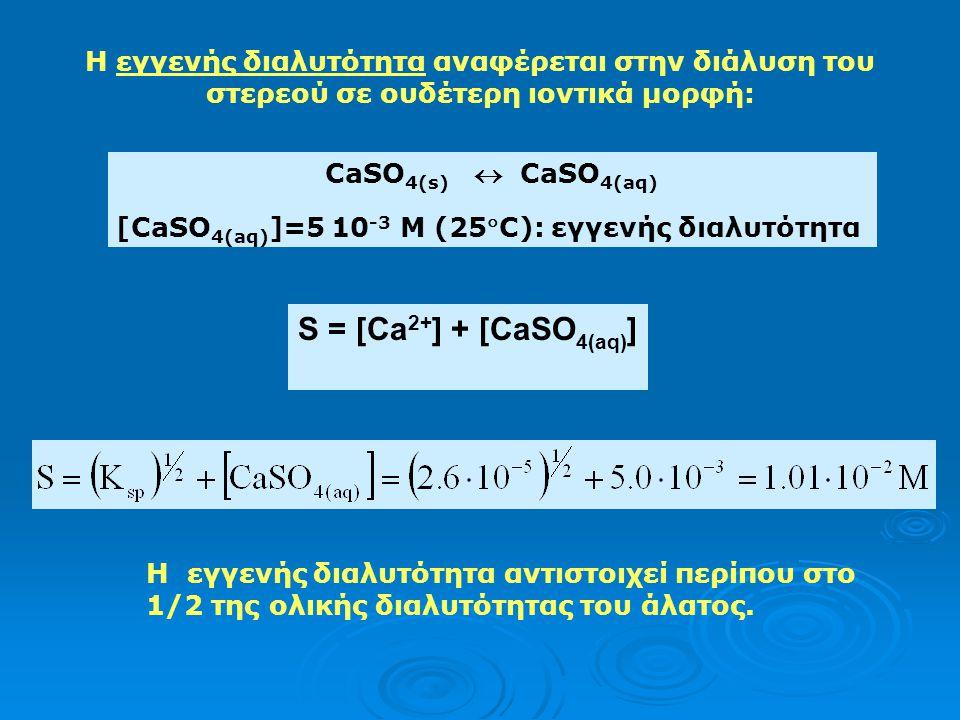 Η διαλυτότητα του θειικού βαρίου: K sp =[Ba 2+ ][SO 4 2- ]=1.23 10 -10 K sp = προϊόν διαλυτότητας του BaSO 4 Διαλυτότητα S του BaSO 4 : S = [Ba 2+ ] =