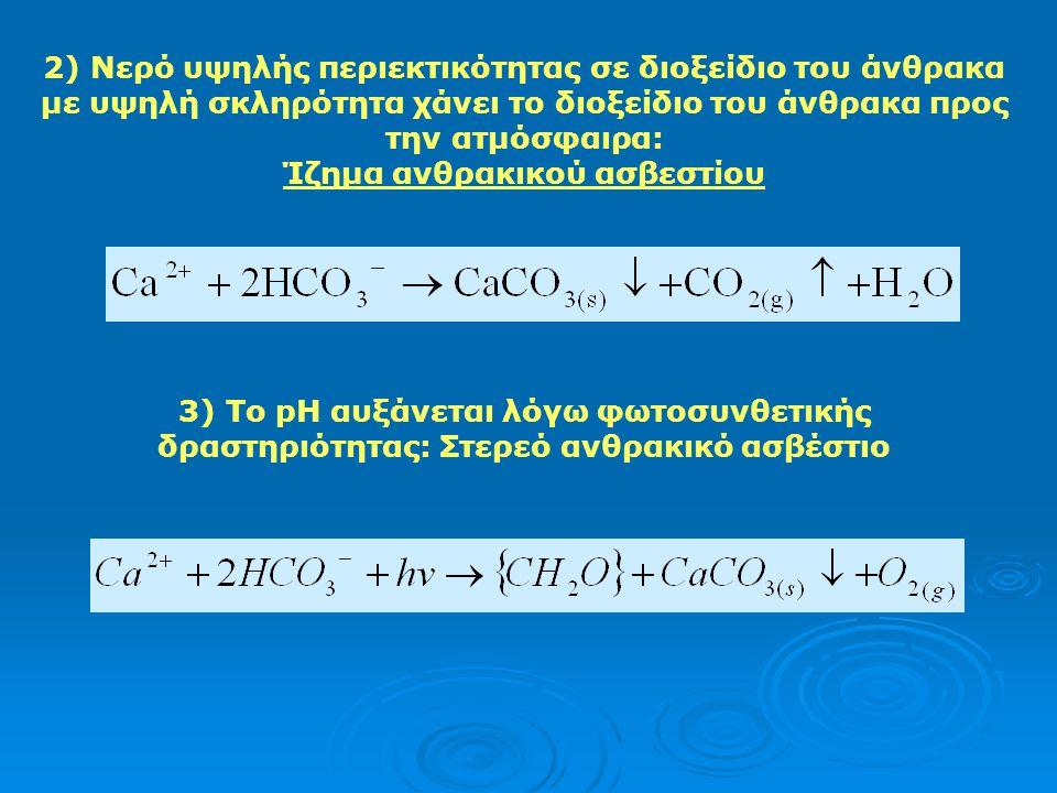 2) Νερό υψηλής περιεκτικότητας σε διοξείδιο του άνθρακα με υψηλή σκληρότητα χάνει το διοξείδιο του άνθρακα προς την ατμόσφαιρα: Ίζημα ανθρακικού ασβεστίου 3) Το pH αυξάνεται λόγω φωτοσυνθετικής δραστηριότητας: Στερεό ανθρακικό ασβέστιο
