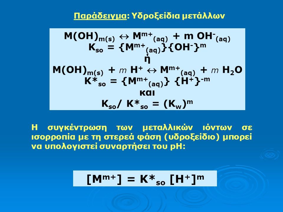 M(OH) m(s)  M m+ (aq) + m OH - (aq) K so = {M m+ (aq) }{OH - } m ή Μ(ΟΗ) m(s) + m Η +  M m+ (aq) + m H 2 O K* so = {M m+ (aq) } {H + } -m και K so / K* so = (K w ) m Παράδειγμα: Υδροξείδια μετάλλων Η συγκέντρωση των μεταλλικών ιόντων σε ισορροπία με τη στερεά φάση (υδροξείδιο) μπορεί να υπολογιστεί συναρτήσει του pH: [M m+ ] = K* so [H + ] m