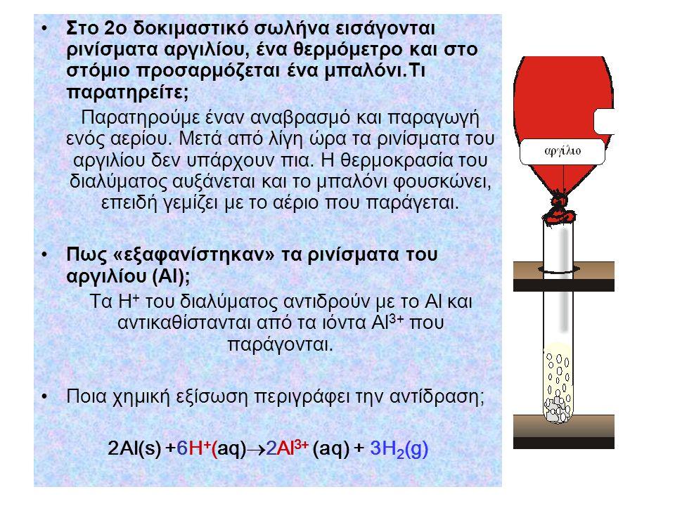 •Στο 2ο δοκιμαστικό σωλήνα εισάγονται ρινίσματα αργιλίου, ένα θερμόμετρο και στο στόμιο προσαρμόζεται ένα μπαλόνι.Τι παρατηρείτε; Παρατηρούμε έναν αναβρασμό και παραγωγή ενός αερίου.