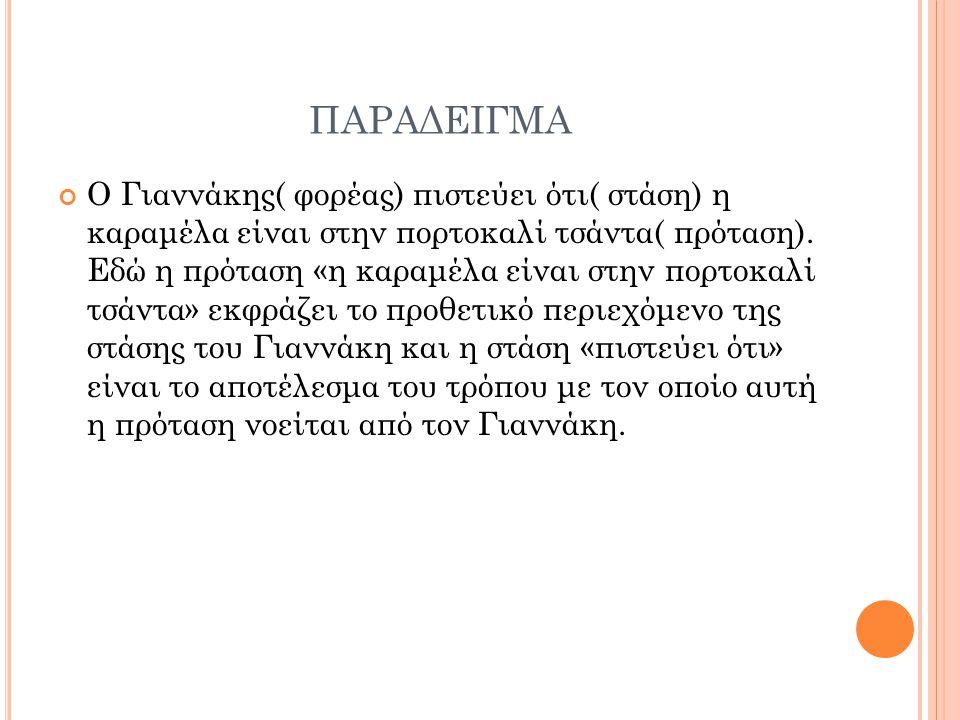 ΠΑΡΑΔΕΙΓΜΑ Ο Γιαννάκης( φορέας) πιστεύει ότι( στάση) η καραμέλα είναι στην πορτοκαλί τσάντα( πρόταση).