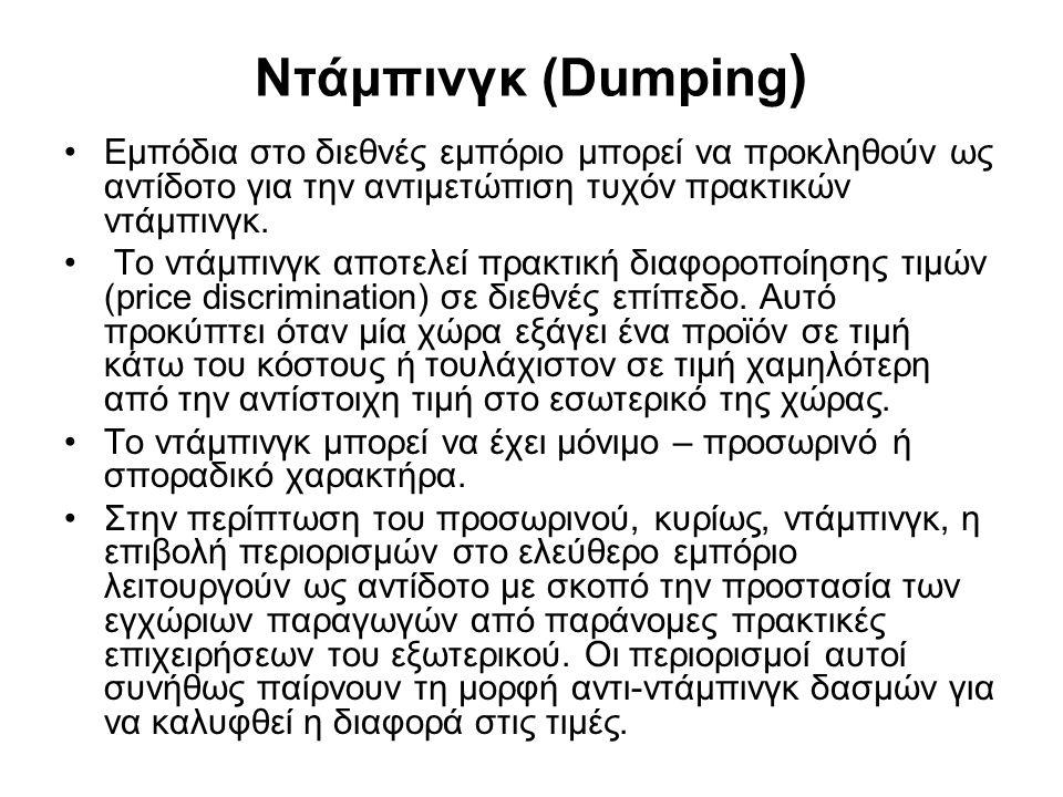 Ντάμπινγκ (Dumping ) •Εμπόδια στο διεθνές εμπόριο μπορεί να προκληθούν ως αντίδοτο για την αντιμετώπιση τυχόν πρακτικών ντάμπινγκ.