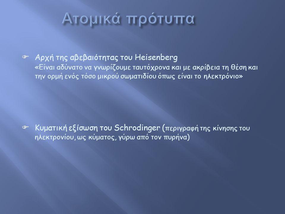  Αρχή της αβεβαιότητας του Heisenberg «Είναι αδύνατο να γνωρίζουμε ταυτόχρονα και με ακρίβεια τη θέση και την ορμή ενός τόσο μικρού σωματιδίου όπως είναι το ηλεκτρόνιο»  Κυματική εξίσωση του Schrodinger ( περιγραφή της κίνησης του ηλεκτρονίου, ως κύματος, γύρω από τον πυρήνα)