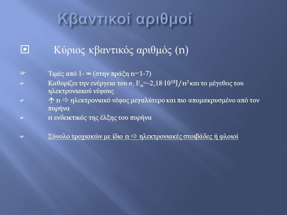  Κύριος κβαντικός αριθμός (n)  Τιμές από 1-  ( στην πράξη n=1-7)  Καθορίζει την ενέργεια του e, Ε n =-2,18.