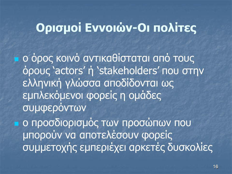 16 Ορισμοί Εννοιών-Οι πολίτες   ο όρος κοινό αντικαθίσταται από τους όρους 'actors' ή 'stakeholders' που στην ελληνική γλώσσα αποδίδονται ως εμπλεκό