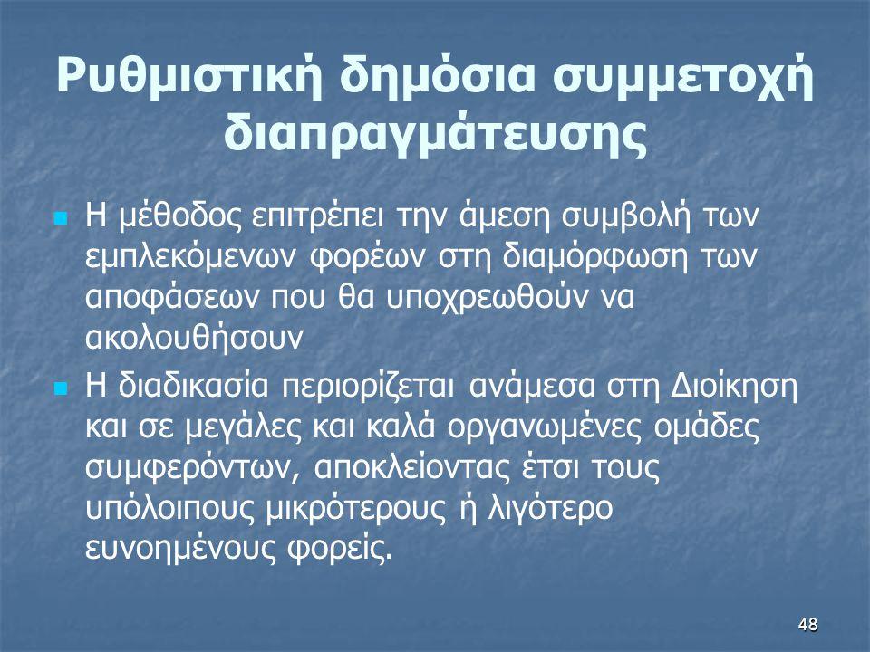 48 Ρυθμιστική δημόσια συμμετοχή διαπραγμάτευσης   Η μέθοδος επιτρέπει την άμεση συμβολή των εμπλεκόμενων φορέων στη διαμόρφωση των αποφάσεων που θα