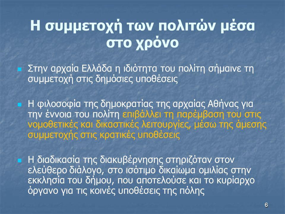 6 Η συμμετοχή των πολιτών μέσα στο χρόνο   Στην αρχαία Ελλάδα η ιδιότητα του πολίτη σήμαινε τη συμμετοχή στις δημόσιες υποθέσεις   Η φιλοσοφία της