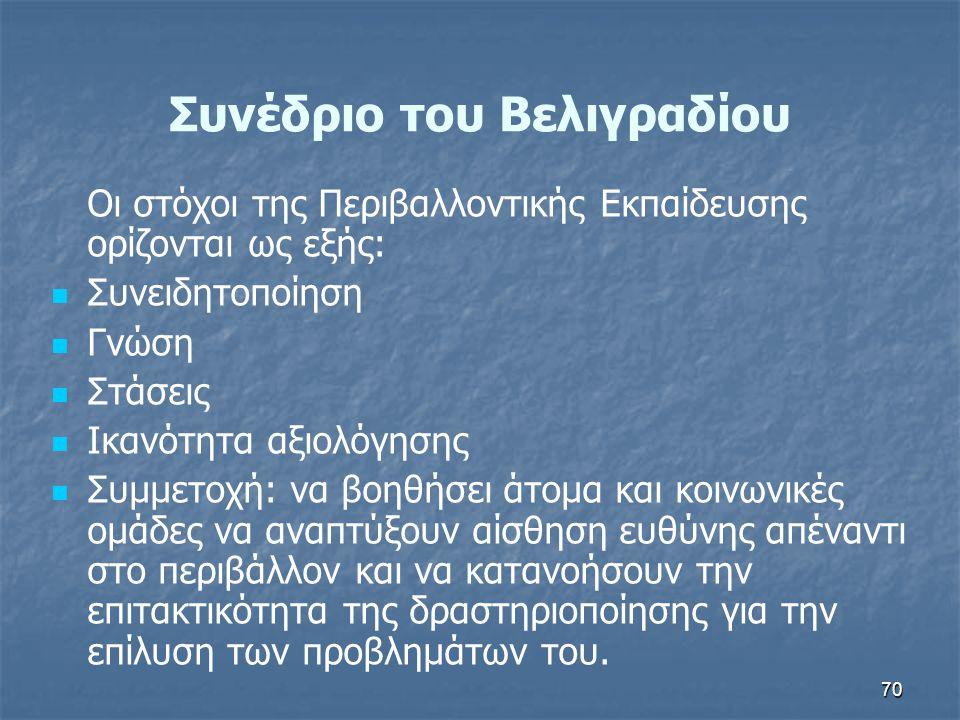70 Συνέδριο του Βελιγραδίου Οι στόχοι της Περιβαλλοντικής Εκπαίδευσης ορίζονται ως εξής:   Συνειδητοποίηση   Γνώση   Στάσεις   Ικανότητα αξιολ