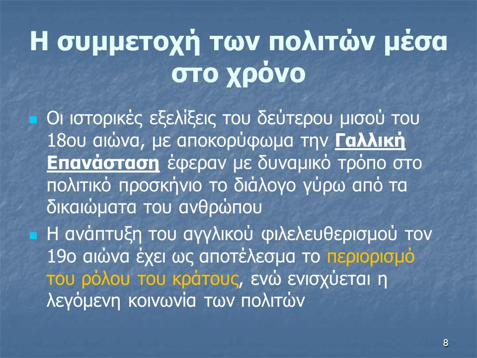 89 Το δικαίωμα της συμμετοχής των πολιτών στην Ελλάδα   Το δικαίωμα της συμμετοχής των πολιτών στην ελληνική νομοθεσία, βρίσκει έρεισμα στη διάταξη του άρθρου 25, παράγραφος Ι, του Συντάγματος του 2001   Από το άρθρο 24, παράγραφος 1 και 2, απορρέει η υποχρέωση του Κράτους να προστατεύει το περιβάλλον: