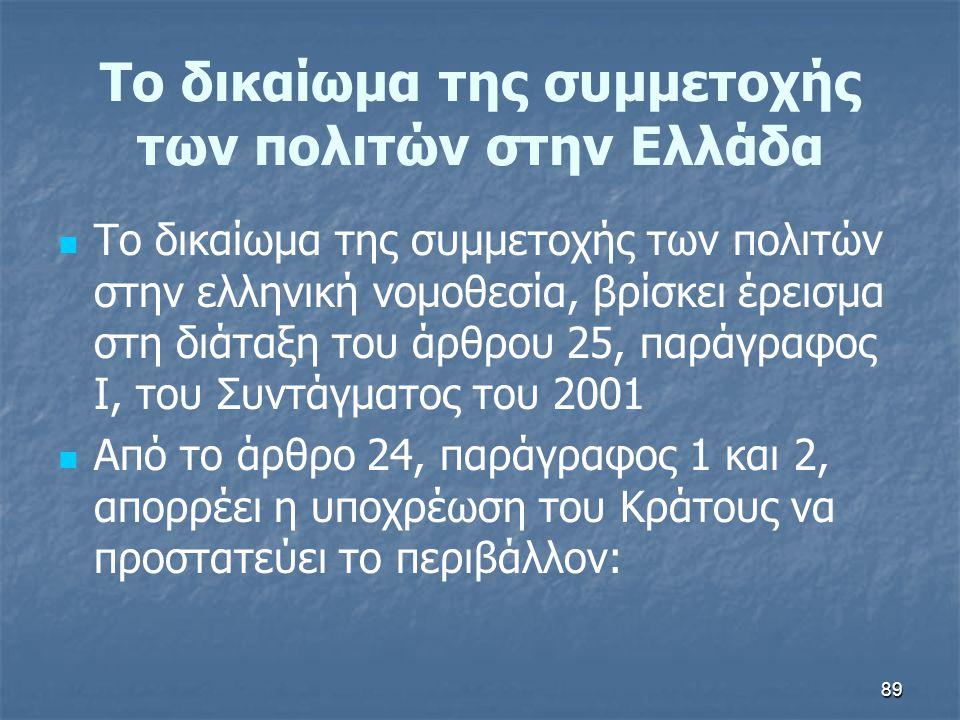 89 Το δικαίωμα της συμμετοχής των πολιτών στην Ελλάδα   Το δικαίωμα της συμμετοχής των πολιτών στην ελληνική νομοθεσία, βρίσκει έρεισμα στη διάταξη