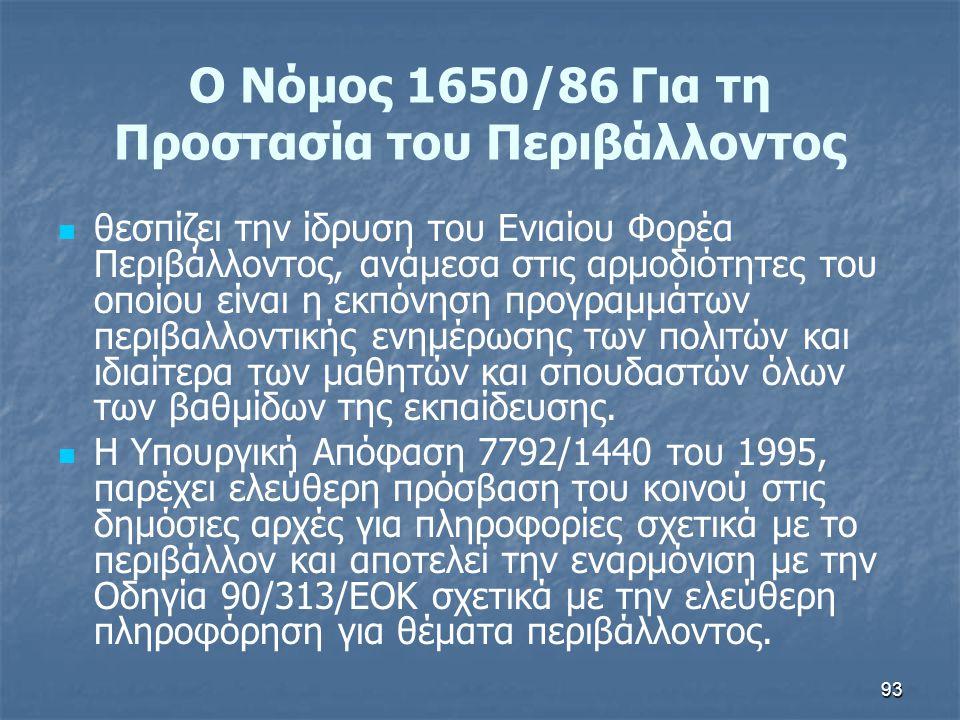 93 Ο Νόμος 1650/86 Για τη Προστασία του Περιβάλλοντος   θεσπίζει την ίδρυση του Ενιαίου Φορέα Περιβάλλοντος, ανάμεσα στις αρμοδιότητες του οποίου εί